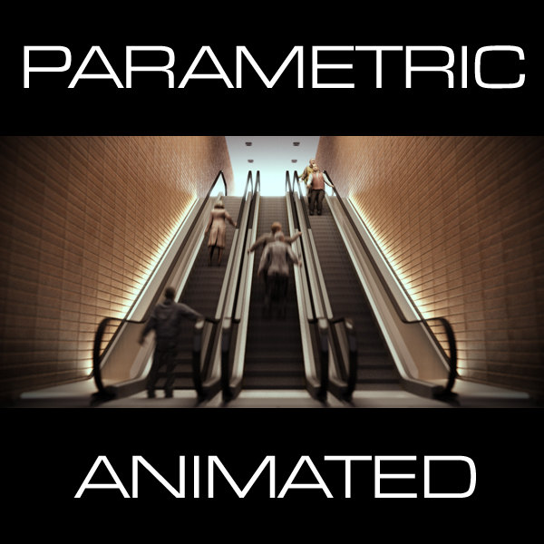 parametric escalator 9 animation 3d model