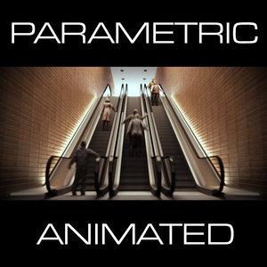 parametric escalator 9 animation 3d model