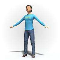 free max mode rigged human woman