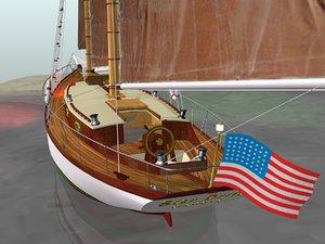 blender american sailing boat -