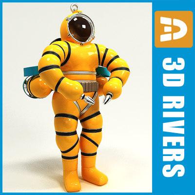 professional diver 3d model