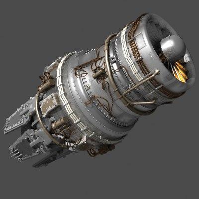 sci fi jet engine 3d lwo