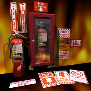 3d extinguisher cabinet 01 flame