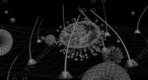 flu virus microscope 3d model