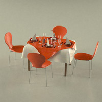 3d table plates fork model