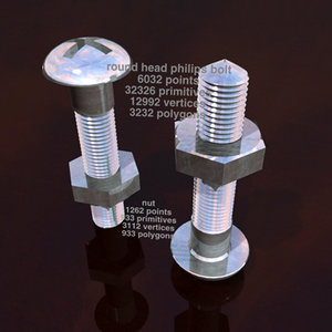 3ds max head philips bolt nut