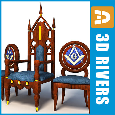 3d model of mason thron chairs