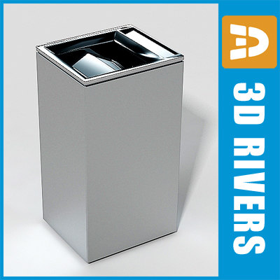 3d floor trash cans model