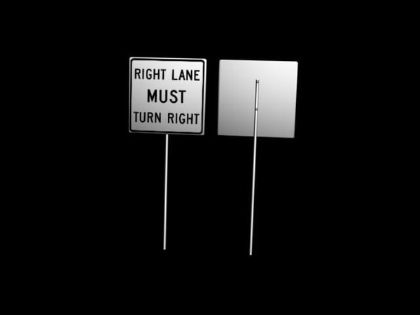3d model turn right sign