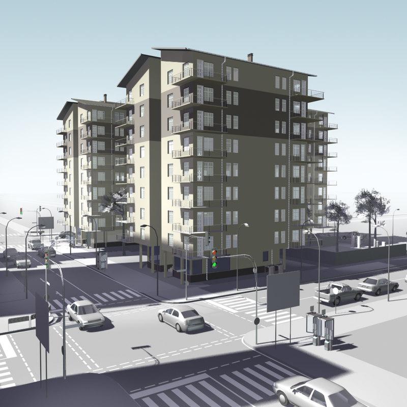urban block buildings 3d obj
