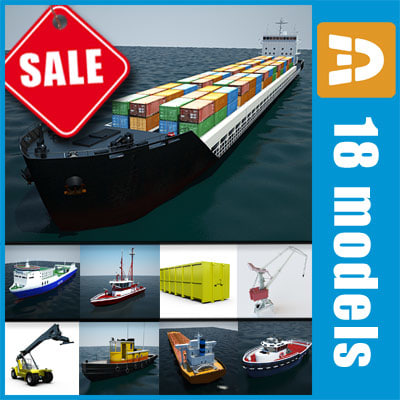 seaport port crane ship boat 3d model