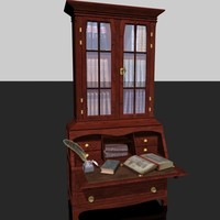 3d model old secretary books