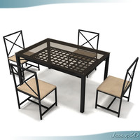 3ds max glass metal dinner table