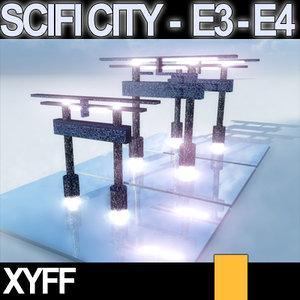 3d model of japanese scifi e3 e4