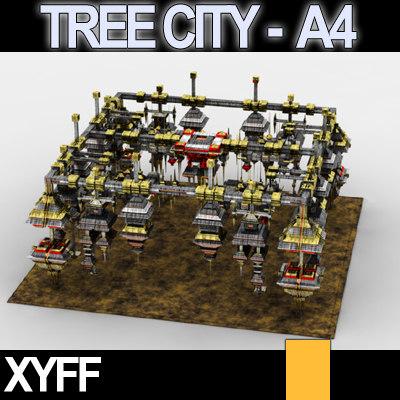 3d model of xyff tree city block