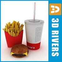 3d fast food set
