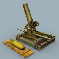3d model wwi flying pig mortar