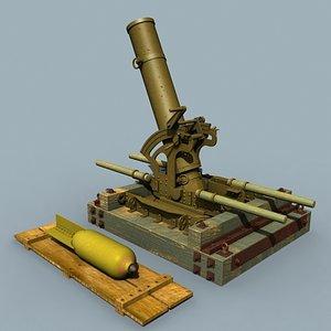 3d model wwi flying pig mortar