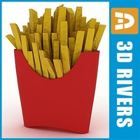 3d model of fries package food