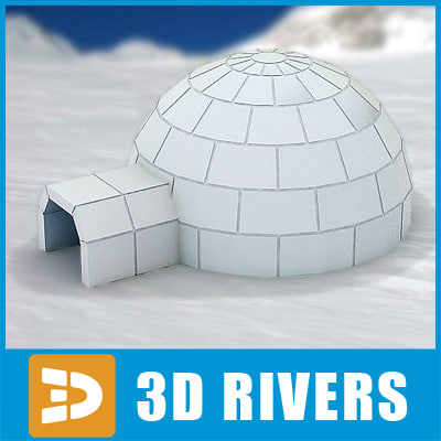 3d snowhouse igloo house exterior