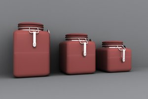 kitchen canisters 3d obj