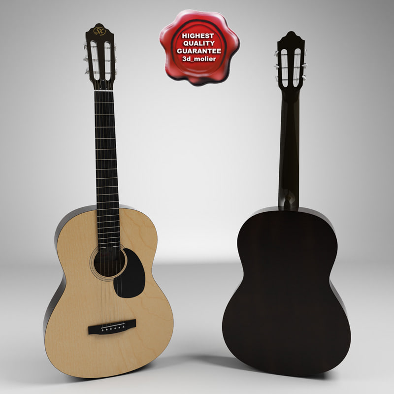 realistic acoustic guitar 3d model