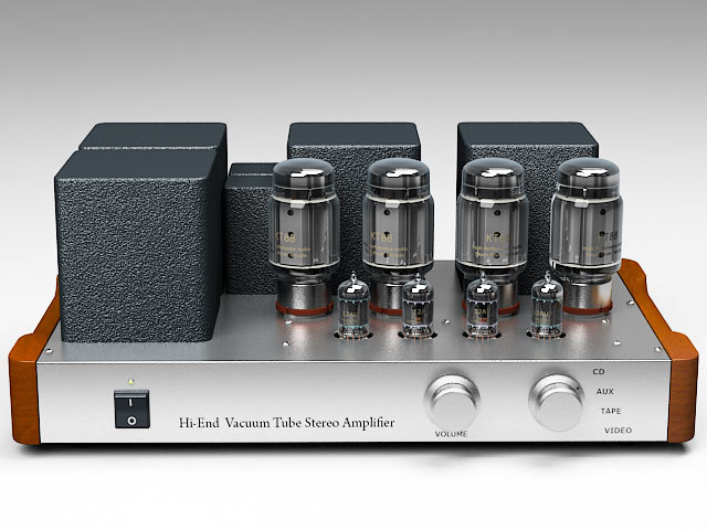 hi-fi tube amplifier 3d model