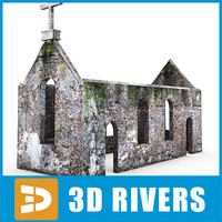 dilapidated catholic church 3d model