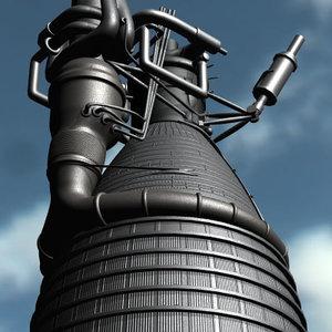 saturn f-1 rocket engine 3d 3ds