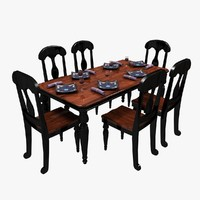 dinner table chairs 3d model