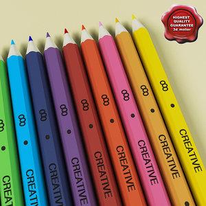 pencils colors 3d model