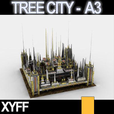 3d 3ds scifi city tree cityscape