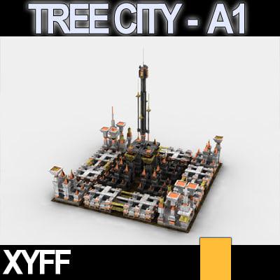 maya xyff tree city block