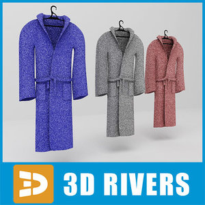 3d bathrobe set clothes model