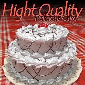 cake chocolate cherries 3d obj