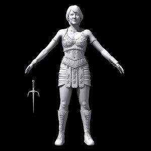 princess warrior gabrielle 3d model