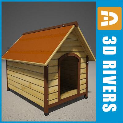 3d obj wooden dog kennel