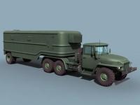 3d model soviet odaz trailer ural-375