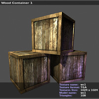 3d wood container model