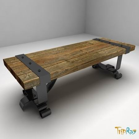 wood bench forging 3ds