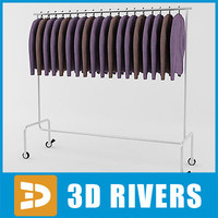3d model retail clothing rack sweaters