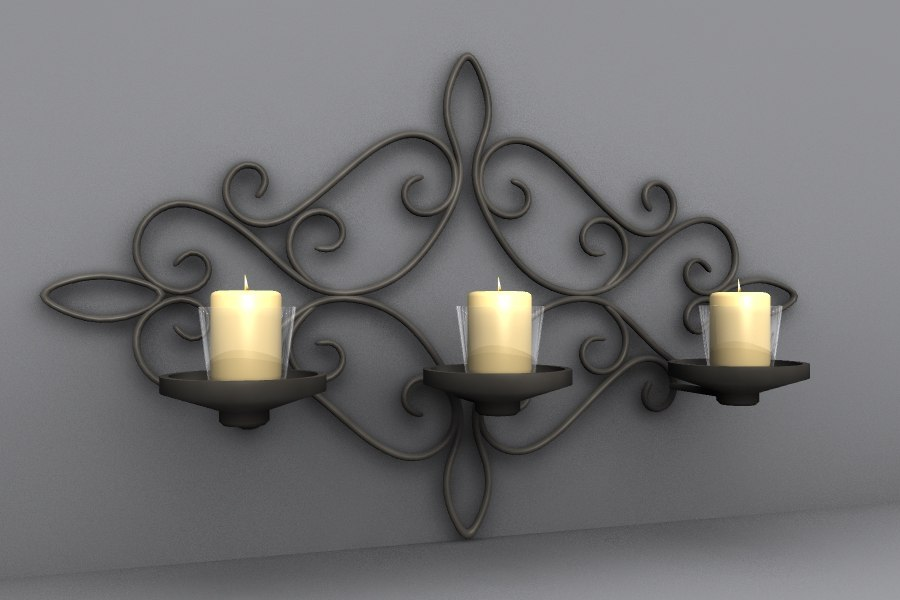 3d model wall candle votive