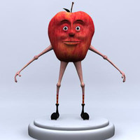 3d apple character modeled model