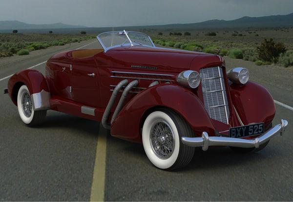 3d obj classic auburn car wheels