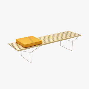 design bertoia bench 3d obj
