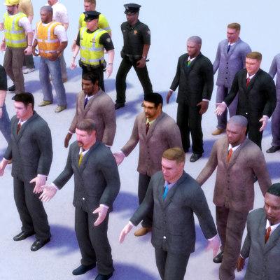male crowd 3d max