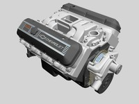 chevrolet big block v8 engine 3d dxf