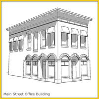 corner office building whitebox 3d model