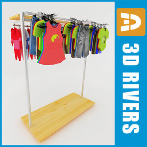 clothing rack kids dress 3d max