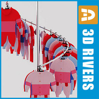 3d model of retail clothing rack kids